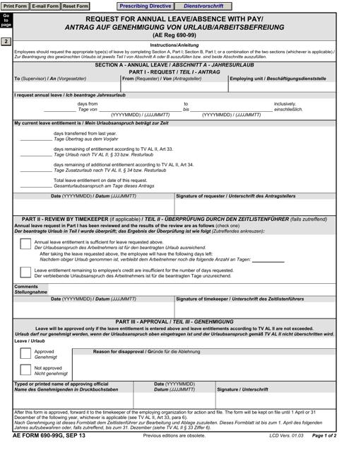 AE Form 690-99G  Printable Pdf