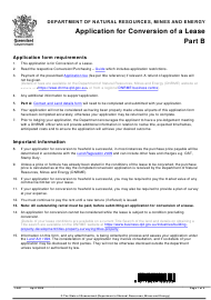 "Form LA1 Part B ""Application for Conversion of a Lease"" - Queensland, Australia"