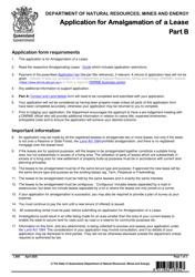 "Form LA06 Part B ""Application for Amalgamation of a Lease"" - Queensland, Australia"