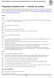 "Form 1 ""Preparation Checklist - Transfer (To Trustee)"" - Queensland, Australia"