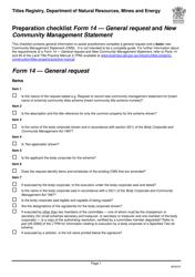 """Form 14 """"Preparation Checklist - General Request and New Community Management Statement"""" - Queensland, Australia"""