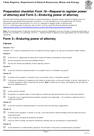 "Form 16 (3) ""Preparation Checklist - Request to Register Power of Attorney and Enduring Power of Attorney"" - Queensland, Australia"