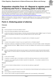 "Form 16 (2) ""Preparation Checklist - Request to Register Power of Attorney and Enduring Power of Attorney"" - Queensland, Australia"