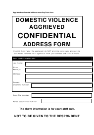 """Domestic Violence Aggrieved Confidential Address Form"" - Queensland, Australia"