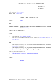 """Form 02 """"Order - Appeals and Stays"""" - Queensland, Australia"""