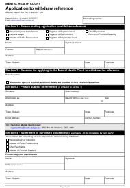"Form 9 ""Application to Withdraw Reference"" - Queensland, Australia"