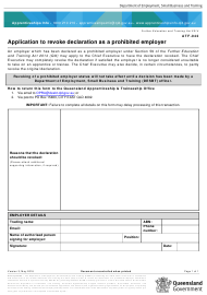 """Form ATF-042 """"Application to Revoke Declaration as a Prohibited Employer"""" - Queensland, Australia"""