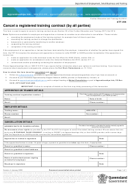 """Form ATF-034 """"Cancel a Registered Training Contract (By All Parties)"""" - Queensland, Australia"""
