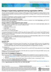 "Form ATF-010 ""Change of Supervising Registered Training Organisation (Srto)"" - Queensland, Australia"