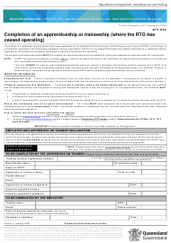 """Form ATF-052 """"Completion of an Apprenticeship or Traineeship (Where the Rto Has Ceased Operating)"""" - Queensland, Australia"""