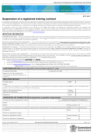 """Form ATF-037 """"Suspension of a Registered Training Contract"""" - Queensland, Australia"""