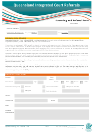 """Qicr Screening and Referral Form"" - Queensland, Australia"