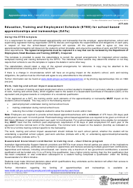 """Form ATF-023 """"Education, Training and Employment Schedule (Etes) for School-Based Apprenticeships and Traineeships (Sats)"""" - Queensland, Australia"""