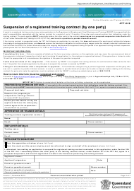 """Form ATF-049 """"Suspension of a Registered Training Contract (By One Party)"""" - Queensland, Australia"""