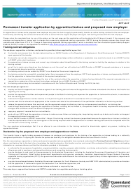 """Form ATF-047 """"Permanent Transfer Application by Apprentice/Trainee and Proposed New Employer"""" - Queensland, Australia"""