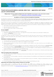 """Form ATF-022 """"Travel and Accommodation Subsidy Claim Form - Apprentice and Trainee (Not for School-Based)"""" - Queensland, Australia"""