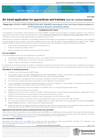 """Form ATF-004 """"Air Travel Application for Apprentices and Trainees (Not for School-Based)"""" - Queensland, Australia"""