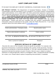 "Form DWC-AU-906 ""Audit Complaint Form"" - California"