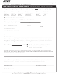 "Form VR-103 ""Application for Maryland Gift Certification"" - Maryland"