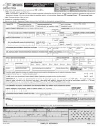 "Form MV-82 ""Vehicle Registration/Title Application"" - New York"