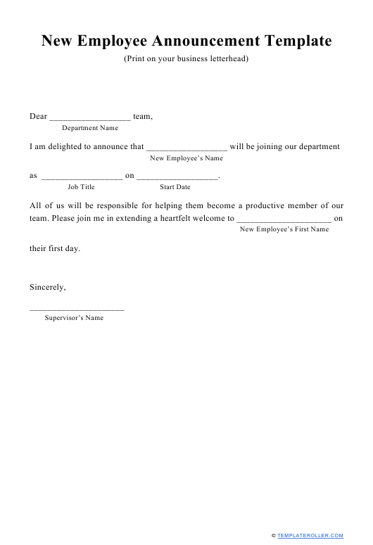 """New Employee Announcement Template"" Download Pdf"