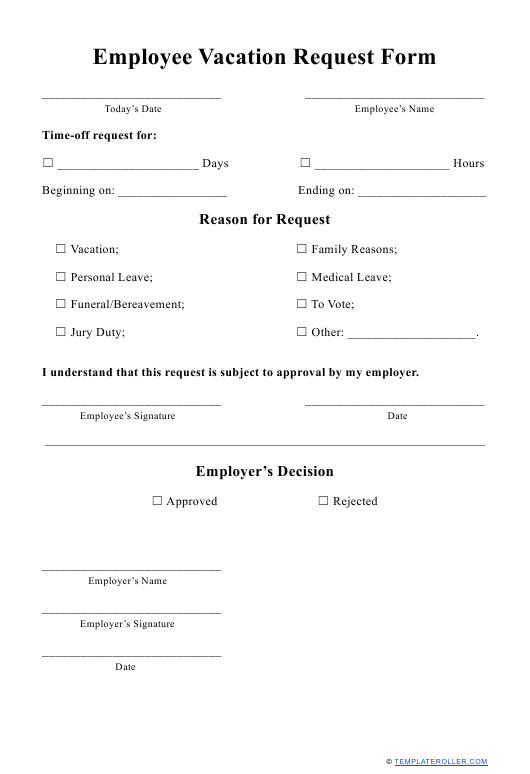 """Employee Vacation Request Form"" Download Pdf"