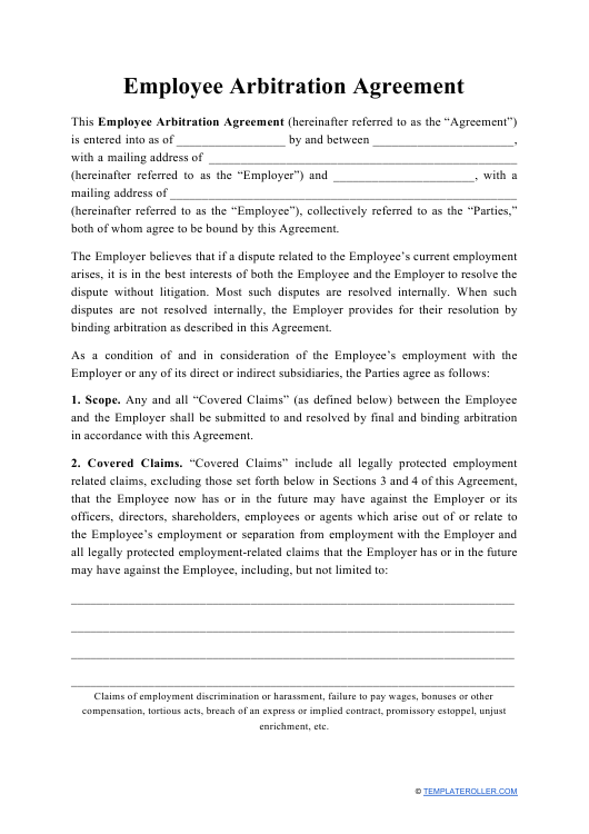 """""""Employee Arbitration Agreement Template"""" Download Pdf"""