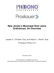 """New Jersey's Municipal Sick Leave Ordinances: an Overview - Joseph C. O'keefe, Esq. and Allison L. Martin, Esq. Proskauer Rose Llp"""