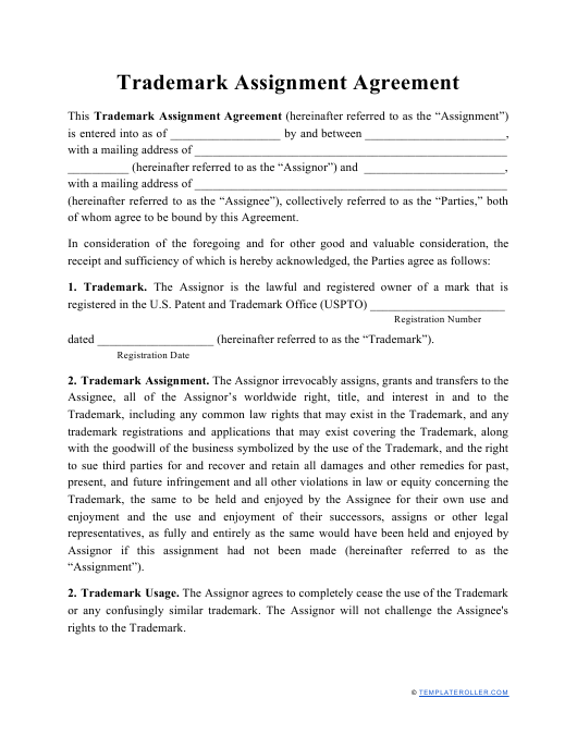 """Trademark Assignment Agreement Template"" Download Pdf"