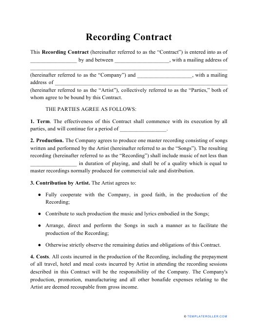 """Recording Contract Template"" Download Pdf"