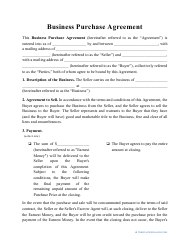 """Business Purchase Agreement Template"""