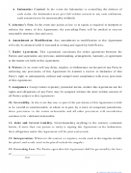 """""""Hold Harmless Agreement Template"""", Page 2"""