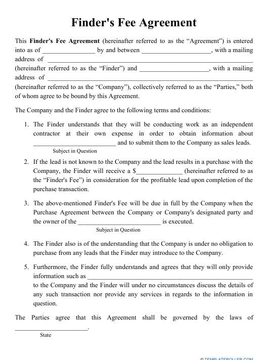"""Finder's Fee Agreement Template"" Download Pdf"