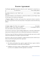 """""""Escrow Agreement Template"""""""