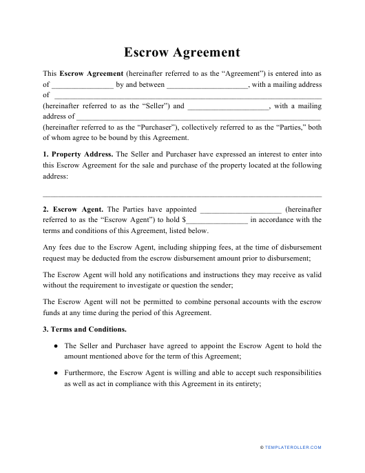 """Escrow Agreement Template"" Download Pdf"