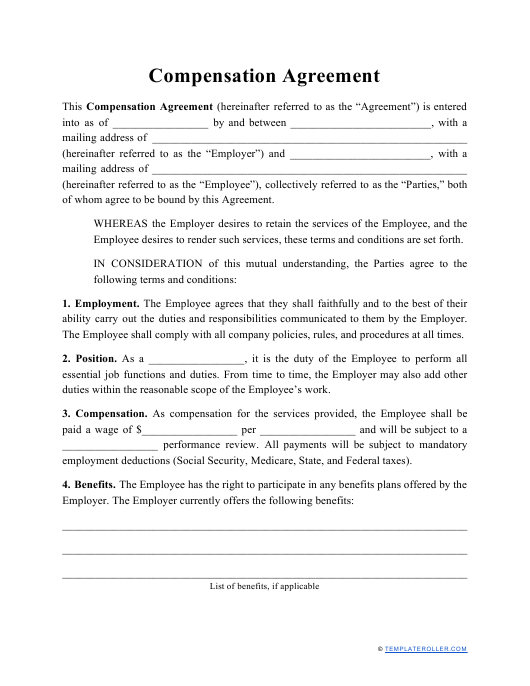 """""""Compensation Agreement Template"""" Download Pdf"""