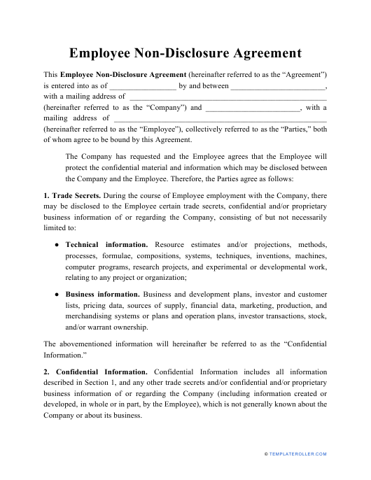 """Employee Non-disclosure Agreement Template"" Download Pdf"