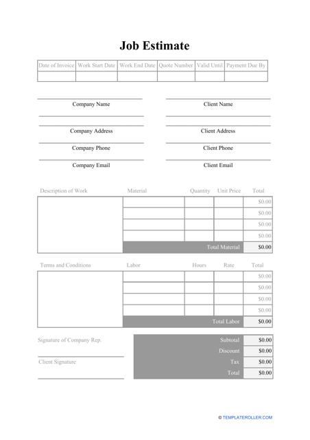 Tree Service Estimate Template from data.templateroller.com