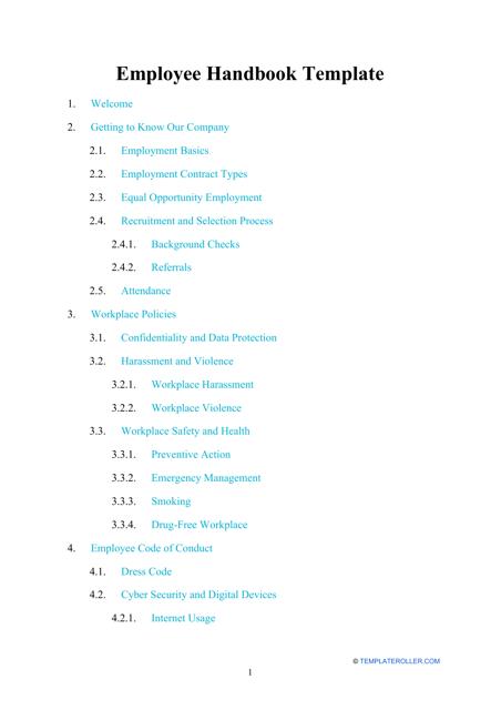 """Employee Handbook Template"" Download Pdf"