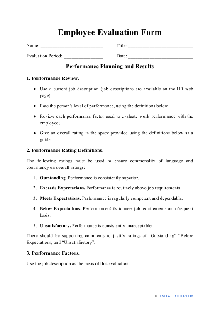 """Employee Evaluation Form"" Download Pdf"
