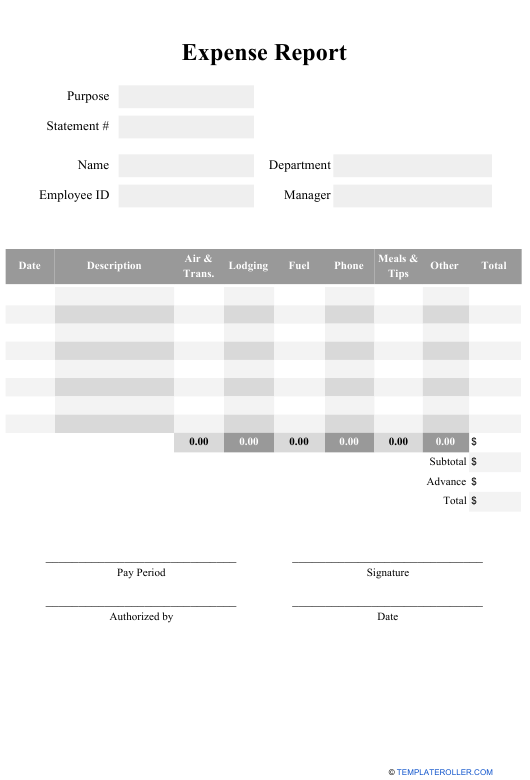 """""""Expense Report Template"""" Download Pdf"""