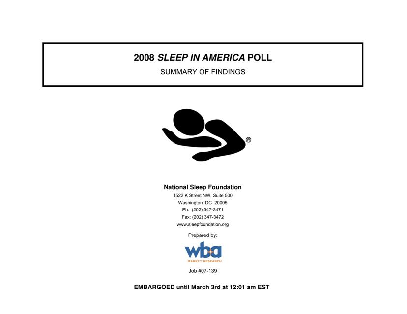 """Sleep in America Poll - National Sleep Foundation"" Download Pdf"