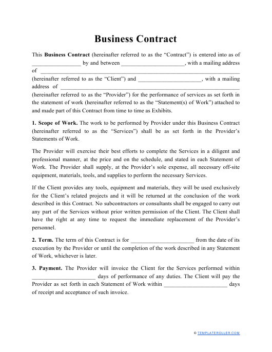 """Business Contract Template"" Download Pdf"