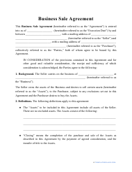 """Business Sale Agreement Template"""