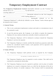 """Temporary Employment Contract Template"""
