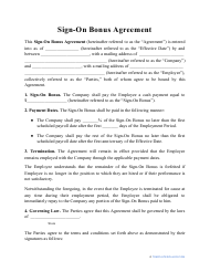 """Sign-On Bonus Agreement Template"""