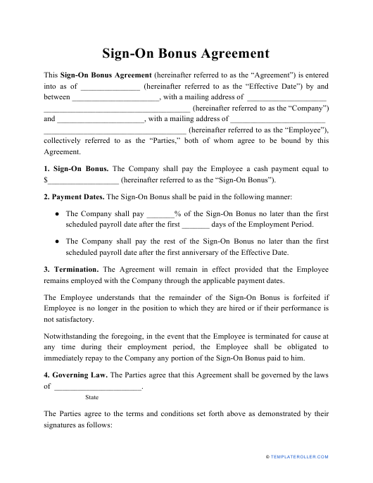 """Sign-On Bonus Agreement Template"" Download Pdf"