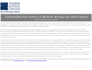 """Understanding State Statutes on Minimum Marriage Age and Exceptions - Tahirih Justice Cente"""