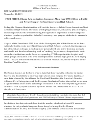 """""""Fact Sheet: Obama Administration Announces More Than $375 Million in Public and Private Support for Next-Generation High Schools"""""""