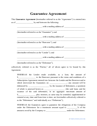 """Guarantee Agreement Template"""